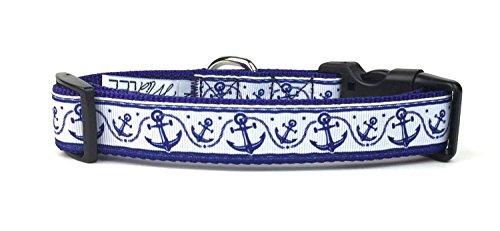 Anchor Dog - Midlee Blue Anchor & Rope Nylon Ribbon Dog Collar 18-26