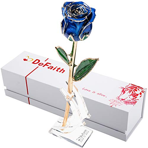 DEFAITH Real Rose 24K Gold Dipped, Forever Gifts for Her Valentines Day Anniversary Wedding and Proposal, Attractive Luster and Natural Shape - Blue with Moon Stand