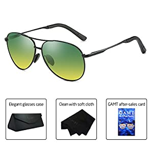 GAMT Night Vision Polarized Sunglasses for women and wen Aviator Driving Sunglasses Nighttime/Day Sun Glasses Black frame for day and night
