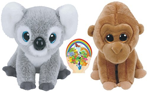 Gorilla Koala - Ty Beanie Beabies Koala Kokoo and Gorilla Monroe Wild Life Gift set of 2 Plush Toys 6-8 inches tall with Bonus Animals Sticker