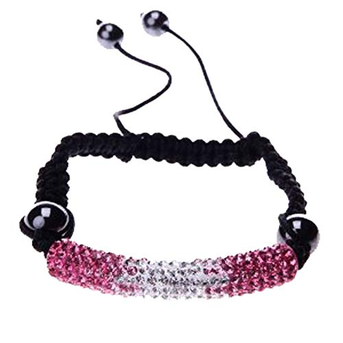 BodyJ4You Bracelet Long Tube White Pink Pave Crystals Adjustable Wrist Iced Out Jewelry