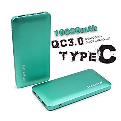 Imazing 10000mah Qualcomm Quick Charge 3.0 Type C 5V/3A input & output Power Bank Portable Charger External Battery Pack 3A + 3.0 5V 9V 12V