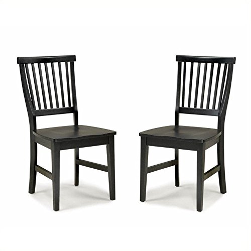 Home Style 5181-802 Arts and Crafts 2-Piece Dining Chair, Black Finish