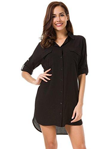 MOQUEEN Womens Button Down Boyfriend Shirt Dress Long Sleeve Basic Blouse Tunic -