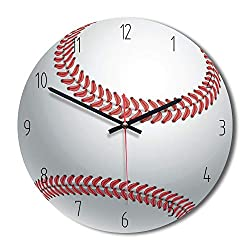 Nuanxin Creative Tennis White Red Round Modern Wall Clock, Digital Living Room Decoration Wooden Acrylic Table Mute Non-Scale 30 30cm Beautiful