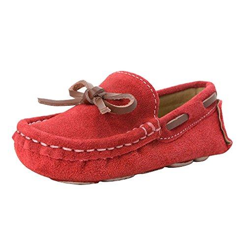 Jungen Mädchen Kleinkind Bootsschuhe Mokassin Faux Wildleder Outdoor Freizeit Loafer Flach Rot