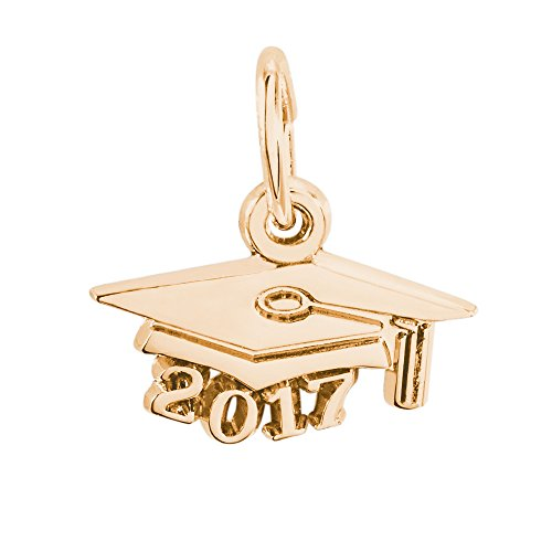 Yellow Gold Graduation Charm (Rembrandt Charms, 2017 Graduation Cap, 14k Yellow Gold,)