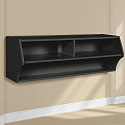 "Prepac BCAW-0200-1 Altus Wall Mounted Audio/Video Console, 48.5"" W x 16.75"" H x 16"" D, Black"