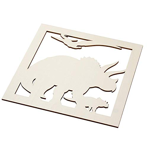 Genie Crafts 2-Piece Unfinished Wooden Triceratops Dinosaur Cutout, Wall Art Decor for Painting, DIY Wood Crafts, and Signs, 11.6 x 0.2 -