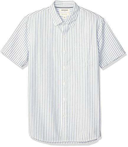 (Goodthreads Men's Slim-Fit Short-Sleeve Oxford Shirt, Blue White Vertical Stripe, Large)