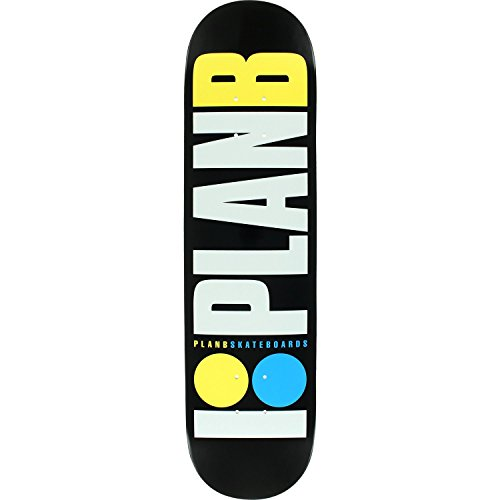 Plan B Og Neon Skateboard Deck -7.75 Black/White/Yellow/Blu DECK ONLY