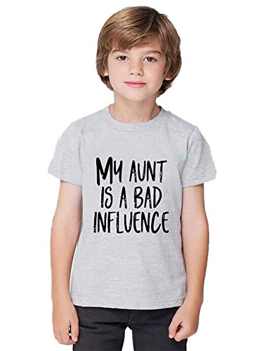 EGELEXY My Aunt is a Bad Influence Letter Printed Toddler T-Shirt Funny Cute Saying Short Sleeve Unisex Tops Tee Size 4-5T (Grey)