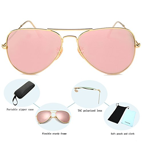 f3a6ee9220 ... 58 YuFalling Polarized Aviator Sunglasses for Men and Women (gold frame pink  lens