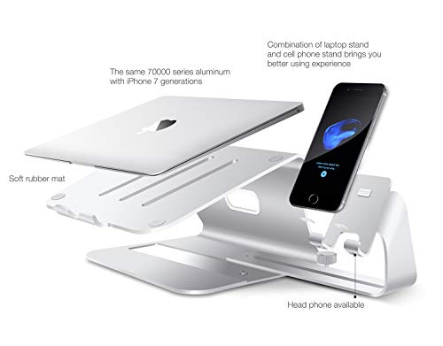 2 in 1 Laptop and Phone Stand - Bestand Aluminum Cooling Computer Stand: [UPDATE VERSION] Stand, Holder for Apple Macbook Air, Macbook Pro, All Notebooks, iPhone Series, Silver (Patented) by Bestand (Image #6)