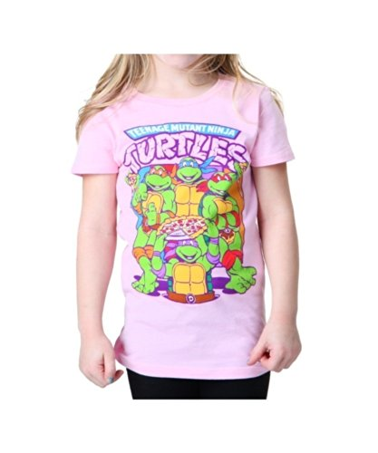 Teenage Mutant Ninja Turtles Little Girls' Pizza Girls T-Shirt, Light Pink, 5/6