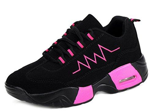 NEWZCERS Unisex Winter Casual Plüsch Warme Sportschuhe Dicke Studenten Kissen Baumwolle Net Schuhe schwarz & rosarot A #