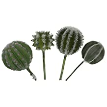LJY 4 Pieces Realistic Artificial Bulbous Cactus Faux Succulent Greenhouse Assorted Small Plants Unpotted for Home Garden Decoration