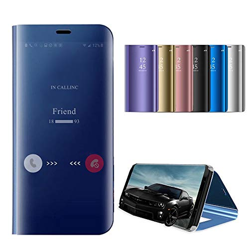 Mirror Screen Cover - Idol Mirror Case Compatible for Samsung Galaxy Note 9 Note 8 S9 S9 Plus S8 S8 Plus Case Metal Electroplate Plating Smart Clear View Flip Folio Protective Makeup Cover (Blue, Samsung Galaxy Note 8)