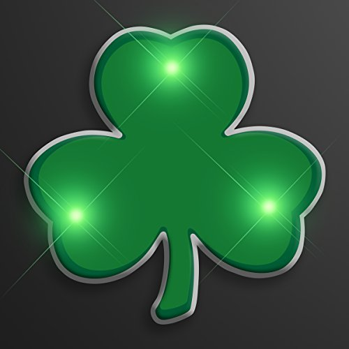 Green Shamrock Light Up Flashing LED Lapel Pins (Set of 5)