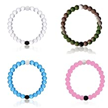Silicone Bracelet Set Size XL, 4 Pack Wristbands(White + Wild Camo + Pink + Blue) by Lokai