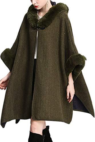 Jacket Joven Espesar Manga Screenes Invierno Verde Elegante Fiesta Vestido Mujer Outwear Pieles Chal Caliente Estolas Con Capa Larga q08gq6r