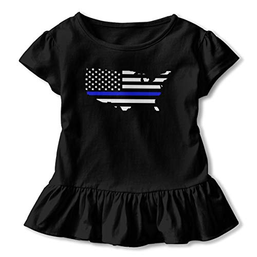 Alfred Weekjey Thin Blue Line Support Police Girls' Short-Sleeve Tunic T-Shirt -