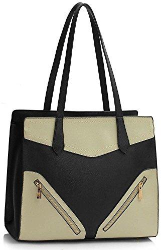 LeahWard Bag Shoulder Grey Handbags 5x30cm Designer 37x14 Oversize Shopper Tote Ladies 00405 Women's Nice Black Bags Large qArFRq