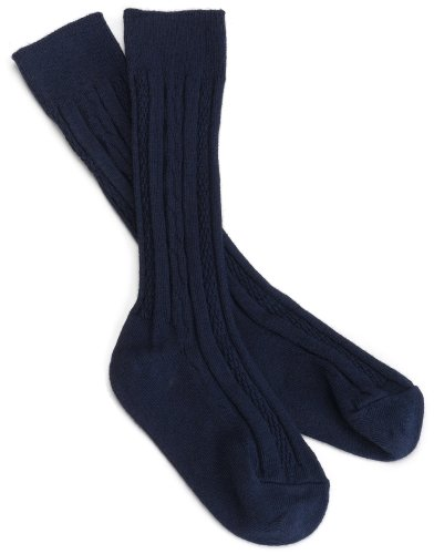 Jefferies Socks Big Girls'  Classic Cable Knee Sock  (Pack of 3),Navy,7-8 (Shoe Size 9-1)