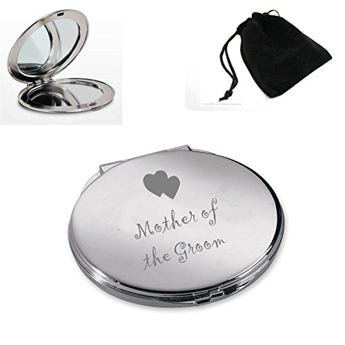 Silver Plated Round Compact Mirror With Mother of the Groom Hearts Design (Silver Plated Compact Mirror)