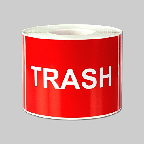 """Trash Disposal Labels Self Adhesive Stickers (Red White / 3"""" x 2"""" ) - 300 labels per package"""