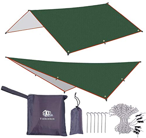 Tent Tarps Camping Hammock rain Fly Cover with 6 Aluminum pegs and 6 Guy Lines for Backpacking Bushcraft Waterproof UV Protection Shelter (Green) (Best Camping Hammock For Big Guys)