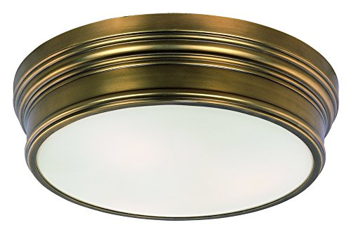 Maxim 22371SWNAB Fairmont 3-Light Flush Mount, Natural Aged Brass Finish, Satin White Glass, MB Incandescent Incandescent Bulb , 4W Max., Dry Safety Rating, 2700/3200K Color Temp, ELV Dimmable, Shade Material, - Lighting Fan Maxim Ceiling Brass