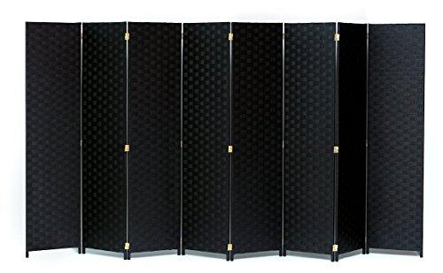 Legacy Decor Room Divider 8 Panel Weave Design Fiber Black Color ()