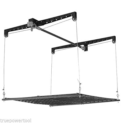 TruePower Cable Lift Garage Ceiling Storage Rack Platform Overhead Shelving, 4 x 4'