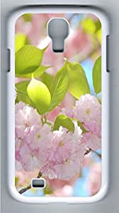 Blooming pink flowers Polycarbonate Hard Case Cover for Samsung Galaxy S4 I9500¨C White