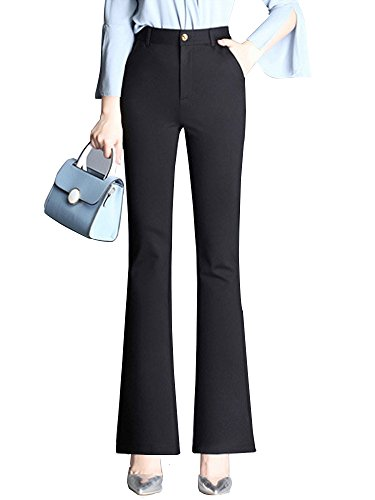 Sobrisah Women's High Waist Strechy Casual Slim Fit Boot-Cut Office Work Suit Pants Black Tag 28-US 6