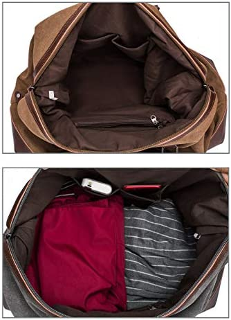Travel Bag with Durable Canvas and Pu Leather is not Easy to Tear and Break, Suitable for Business Trip, Tourism, Camping and Outdoor Activities (Brown)