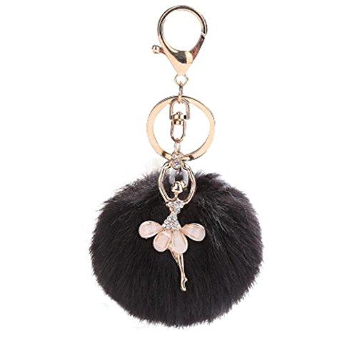 8CM Cute Dancing Angel Keychain Ball Pendant Women Key Ring Holder Pompoms Key Chains DIY Car Handbag Lovely Pendant Accessories By Hongxin (Black) - Angel Handbag Holder
