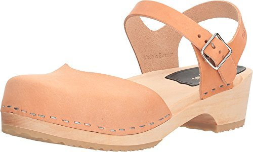 swedish hasbeens Women's Covered Low Flat Sandal, Nature, 38 EU/8 M US by swedish hasbeens