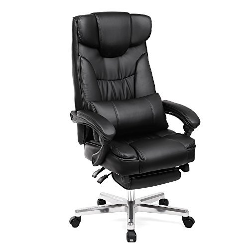SONGMICS Office Chair Ergonomic Executive Gaming Swivel Chair with Foldable Headrest and Pull-Out Footrest PU Leather Extra Large Black, Original Design UOBG75B