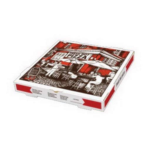 Rock Tenn Square Cafe Design B-Flute Corrugated Pizza Box White, 18
