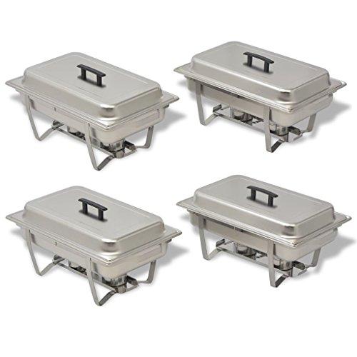 Festnight 4 Piezas Calentadores de Comida para Buffet Sartenes de Agua y de Comida Acero Inoxidable: Amazon.es: Electrónica