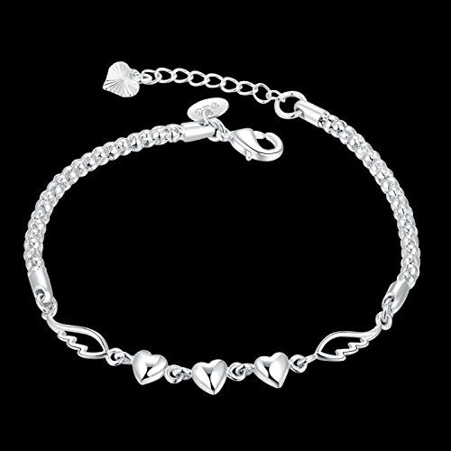 Bracelet coeur aile d'ange argent 925