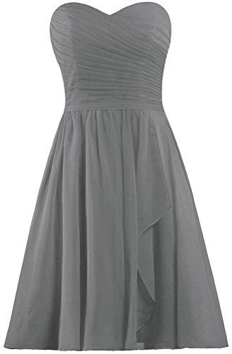ANTS Women's Sweetheart Short Bridesmaid Dresses Chiffon Wedding Party Dress Size 20W US Gray