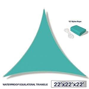 Windscreen4less Terylene Waterproof Sun Shade Sail UV Blocker Triangle Sunshade Patio Canopy Sail 22' x 22' x 22' in Color Turquoise - Customized Sizes