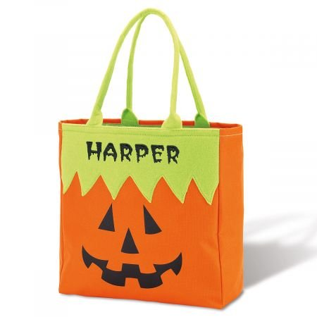 Lillian Vernon Pumpkin Personalized Halloween Treat Bag – Large Trick or Treat Tote & Candy Basket for Kids, Polyester, 12