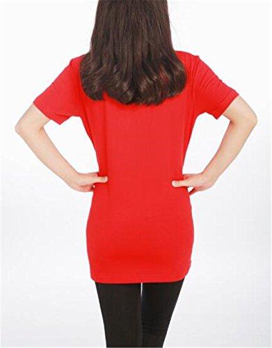 T Red7 Top Comoda Manica Gravidanza Rotondo Camicie Donna Maglietta Casual Top Bluse Aivosen Prémaman Scollo Shirt Comoda Corta Maternity Popolare BnRP4qH