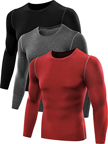 Neleus Men's 3 Pack Athletic Compression Sport Running T Shirt Long Sleeve Base Layer,Black,Grey,Red,US L,EU XL