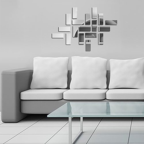 Mirror Wall Stickers - Mirror Wall Decals - Geometric Mirror Wall Decor - Mirror Wall Tiles Peel and Stick, Self Adhesive, Removable, 18 Stickers by Dooboe (Mirror Tiles Wall Sticker)