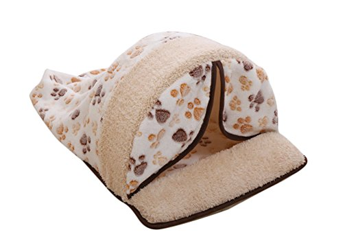 Critter Cuddle Cup (Freerun Warm Soft Fleece Pets Bed Sleeping Bag Burrow Cuddle Cat Dog Cave with Curtain (Beige,)